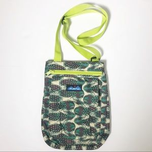 Kavu Feather Print Neon Strap Crossbody Bag